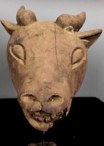 Antiguo Tribal grandes bamum Bull máscara ceremonial --- Camerún BN 12