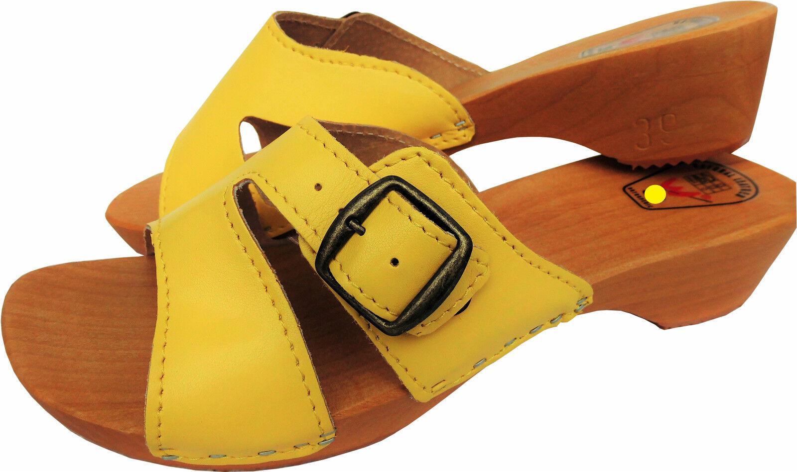 HOLZ (e) CLOGS  Holz Pantolette Gr.37 Echt 10-4-4-76) Leder, GELB (Madein Poland 10-4-4-76) Echt 3a1874