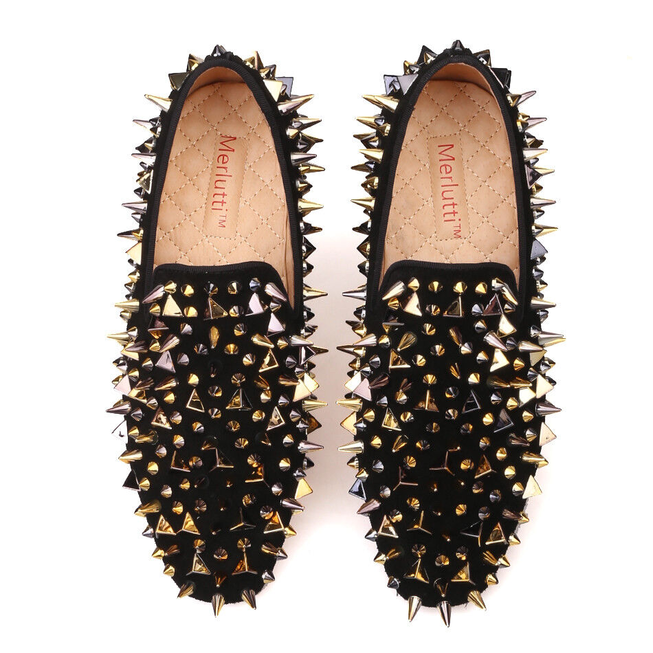 Man's/Woman's Merlutti WOMEN Black Gold Rhinestones Loafers Ideal gift for all occasions Fast delivery Non-slip