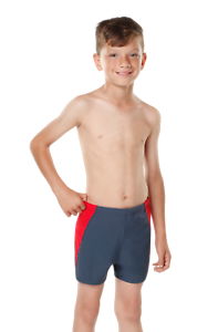 Kes-Vir Incontinence Boy's Swim Shorties in Slate/Red (Bowel control) for Kids