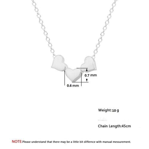 New Design Pendant Necklace Stainless Steel Three Love Hearts Gift For Women