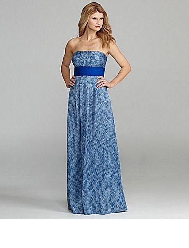 Tahari ASL Sail Away 'Remy' bluee Knit Zig Zag Print Maxi Dress Sz 14 New