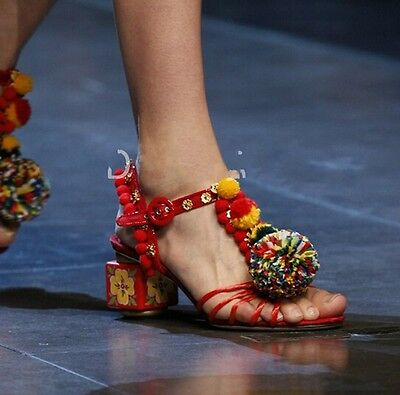 POMPOM New Women Buckle Flowers Floral Mid Heel Chunky Hollow Out Bohemia Sandal