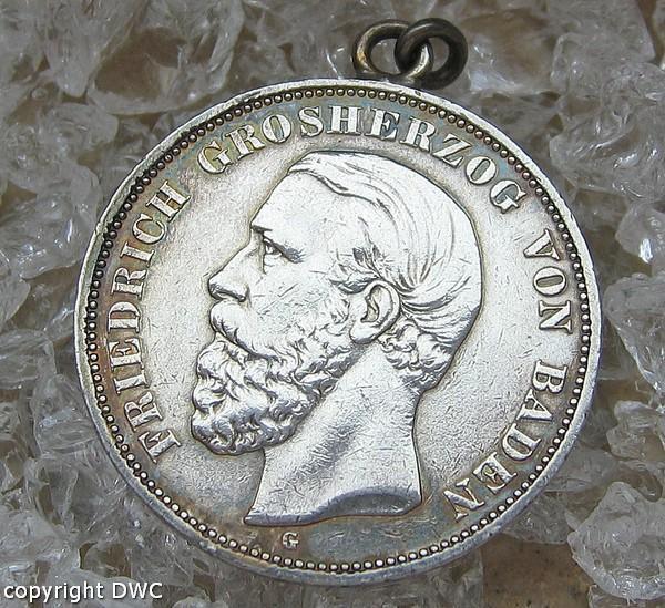 Münzanhänger Anhänger für Charivari Kette aus 900 silver Friedrich von Baden