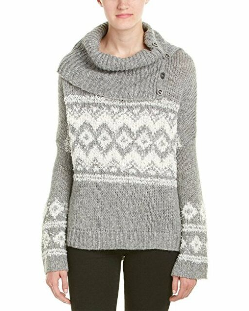 4c0b8d0c2 People Fair Isle Split Neck Sweater Size S Charcoal Gray Ob450226 ...