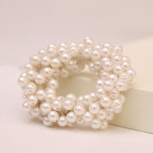 2Stk Haargummi Perle Blume Haarband Zopfband Zopfgummi Scrunchie Pferdeschwanz