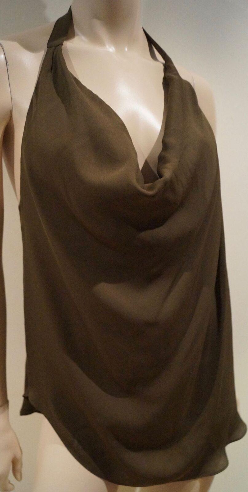 HAUTE HIPPIE braun 100% Silk Draped V Neck Open Strappy Rear Sleeveless Top Sz M