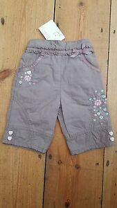 NEW-BHS-Bambini-girls-0-3mths-mocha-cotton-embroidered-jersey-lined-trousers