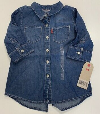 Bienzoe Young Girls Gradient Knotted Button Down Denim Short Sleeve Blouse