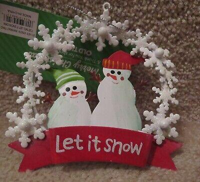 Grungy LET IT SNOW Snowman Hanging Christmas Ornament Primitive Burlap FREE SHIP