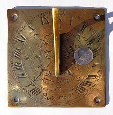 Small Rare Early 1800s Georgian Brass Bronze Roman Numerals Sun Clock Sundial !