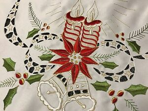 Fiesta-de-Navidad-Rojo-Poinsettia-Vela-Bell-bordado-Runner-Mesa-Manteles-Individuales