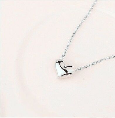 New Women Girls 18K White Gold Plated Simply Cute Heart Necklace Fashion Gift