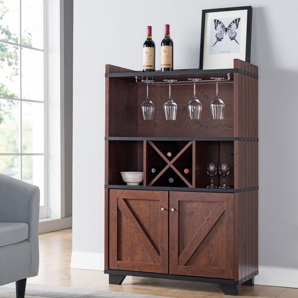 Furniture of America Reyna Wine Rack Buffet in Vintage Walnut