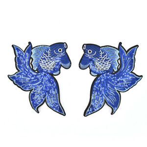 1-pair-fish-embroidered-patches-stripes-for-clothing-badges-sew-on-diy-patches