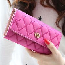 Long Women Clutch Bifold Leather Wallet Card Holder Purse Handbag Bags Rose Red