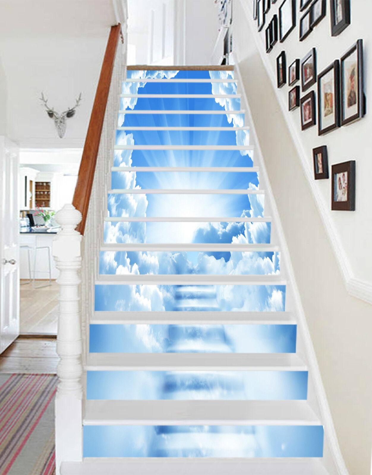 3D Leiter Wolke 326 Stair Risers Dekoration Fototapete Vinyl Aufkleber Tapete DE