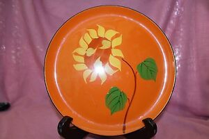 Beautiful Vintage 1965 Davar Lacquer Ware Plate Or Tray With Large Flower