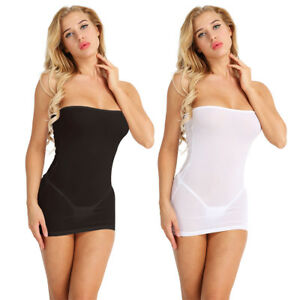 Womens-Strapless-Long-Tube-Top-Tight-Dress-Mini-Dress-Semi-See-through-Bodycon