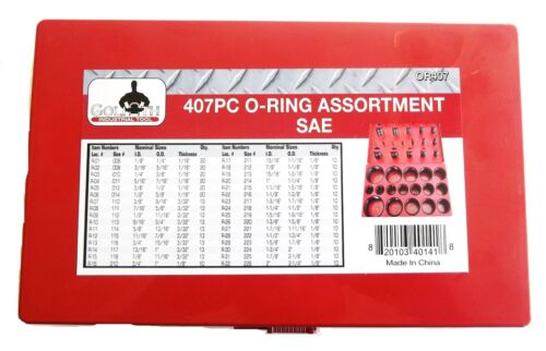 407pc GOLIATH INDUSTRIAL O-RING ASSORTMENT OR407 32 SIZES RUBBER OIL SEAL GASKET