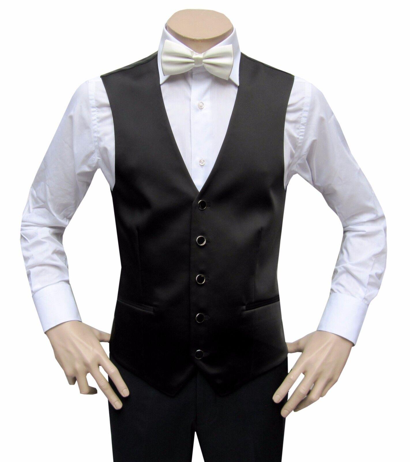 Men's Satin Vest With Cream Bow Tie 2 Pieces Gr.56 Black