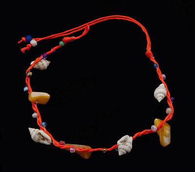Bracelet bresilien amitie fil orange-perles nacre et coquillage-BB20768-FS5B