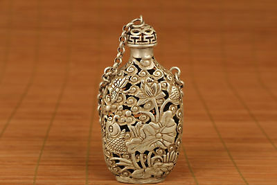 Collectable Tibet Silver Hand Carved Fish Pattern Gourd Model Pattern Pendant