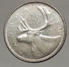 1962 CANADA United Kingdom Queen Elizabeth II Silver 25 Cent Coin CARIBOU i57120