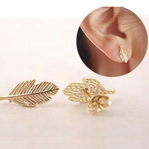 Image Is Loading New Fashion Women Cute Gold Silver Leaf Ear