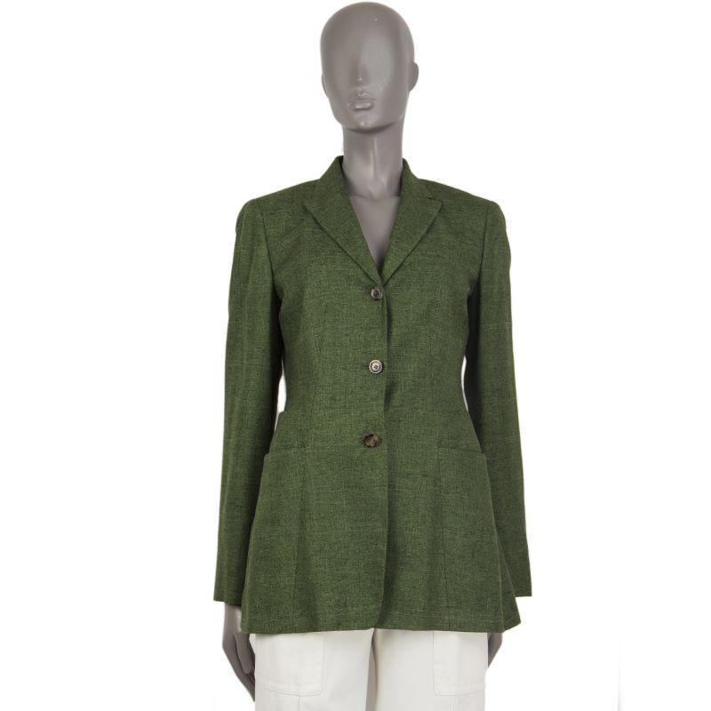 54701 Auth Kiton verde y Negro Seda & casimir Larga  Tweed Blazer Chaqueta 42 M  forma única
