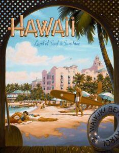 HAWAII-SUN-AND-SURF-Royal-Hawaiian-Collectible-Metal-Tin-Sign-12x16-made-in-USA