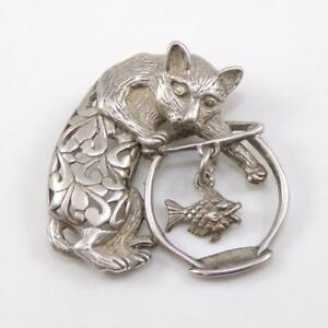 Vintage-Sterling-Silver-Cat-Kitten-Fish-Bowl-Dangle-Fish-Antique-Pin-Brooch-LFC3