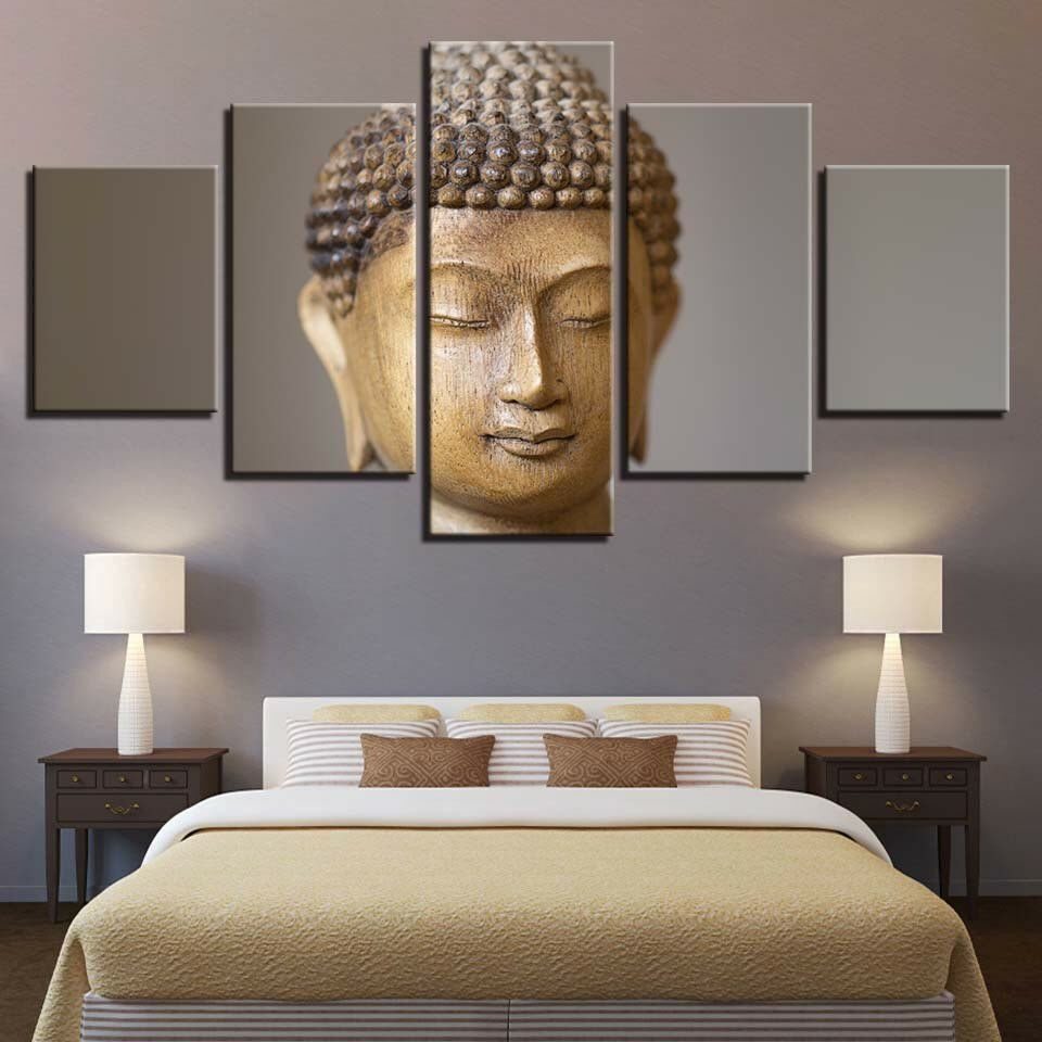 Stone Buddha Head Statue Poster Framed 5 Panel Canvas Drucken Wand Kunst Home Decor