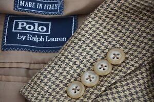 Polo-Ralph-Lauren-Corneliani-Silk-Blend-Brown-Houndstooth-Sport-Coat-Jacket-46R