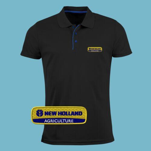 New Holland Polo T Shirt Logo Brodé Slim Fit Hommes Tracteur Agriculture Fermier