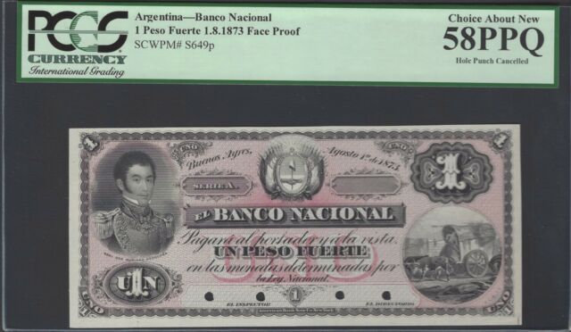 Argentina One Peso Fuerto 1-8-1873 PS649p Uniface Proof Uncirculated