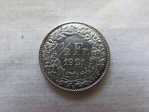 1921 B SWITZERLAND SILVER 1/2 FRANC NEAR UNCIRCULATED CONDITION