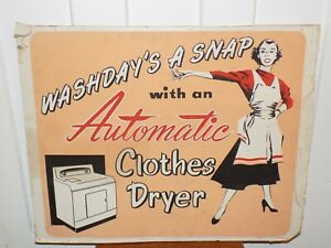 Vintage Automatic Clothes Dryer Cardboard Store Display Sign