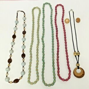 Vintage-Boho-Style-Wood-Beaded-Long-Necklace-Earring-Mixed-Lot-Wooden-Plastic