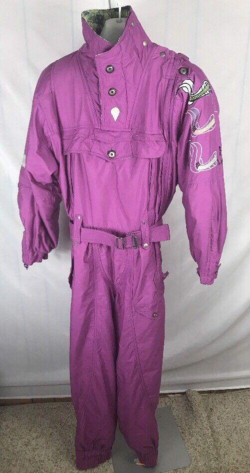 Vtg 80s 90s Purple Chervo One piece Ski Suit  Snow Bib Euro 42  Snakes Rare  factory outlet online discount sale