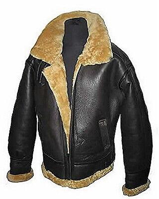 Men/'s Bomber B3 Real Shearling Leather Jacket With FurBomber jacketSheepskin jacketAviator JacketB3 RAF Jacket