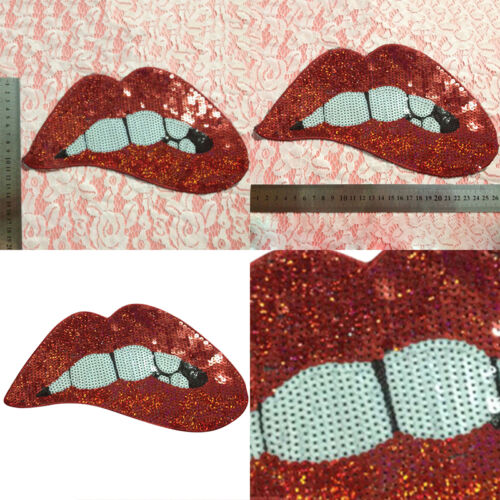 Embroidered iron on patches for clothing Red sequins Lips DIY Motif Applique 4H