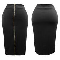 Hot Gal Womens Plus Size Black Scuba Bodycon Midi Skirt w/ front zip all sizes