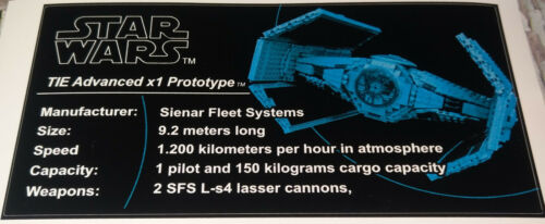 Star Wars  Sticker for Lego® 10175 Adaption Tie Advanced x1 Prototype Custom