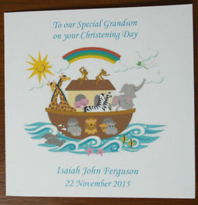 Handmade-Personalised-Noahs-Ark-Baby-Christening-or-Baptism-Card