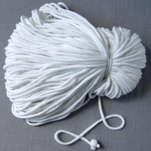 Kordel Schnur Baumwolle Perlenschnur 5 Meter Durchmesser 5 mm Weiss