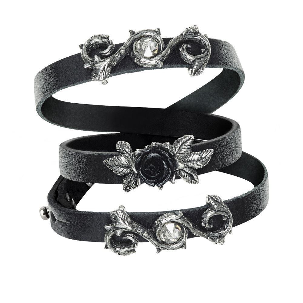 Alchemy Gothic rosa della perfezione Peltro swarovski in pelle pelle pelle braccialetto wrap 714c86