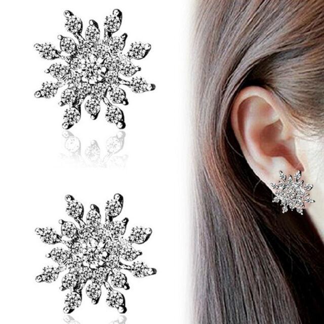 Eiskristall Schneeflocke Ohrringe Ohrstecker Strass Gross Neu Farbe Silber 1089