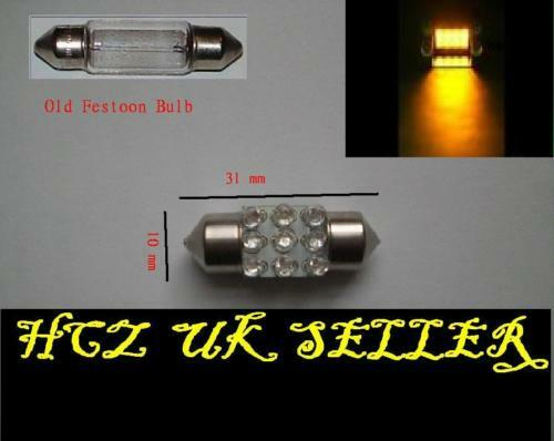2x 9 Led 31mm Interior Festoon Bulb Amber ( White Red Green Blue )
