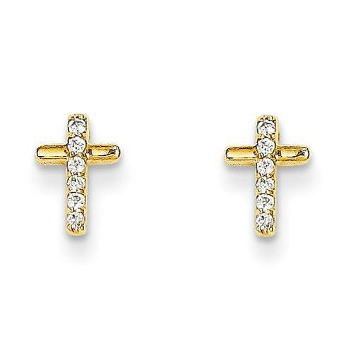 Madi K Collection 14k Yellow gold Polished Religious Cross w  CZ Post Earrings